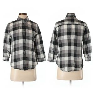 Uniqlo Black & White Buffalo Plaid Linen Shirt